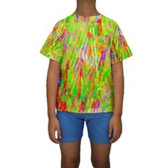 Cheerful Phantasmagoric Pattern Kids  Short Sleeve Swimwear