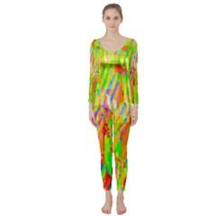 Cheerful Phantasmagoric Pattern Long Sleeve Catsuit