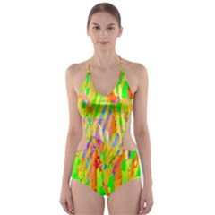 Cheerful Phantasmagoric Pattern Cut Out One Piece Swimsuit