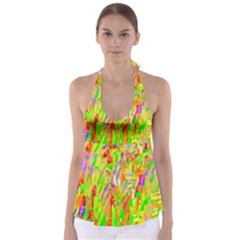 Cheerful Phantasmagoric Pattern Babydoll Tankini Top