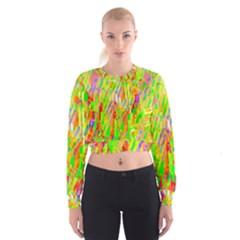 Cheerful Phantasmagoric Pattern Women s Cropped Sweatshirt