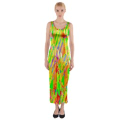 Cheerful Phantasmagoric Pattern Fitted Maxi Dress