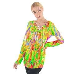 Cheerful Phantasmagoric Pattern Women s Tie Up Tee