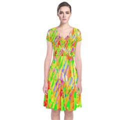 Cheerful Phantasmagoric Pattern Short Sleeve Front Wrap Dress