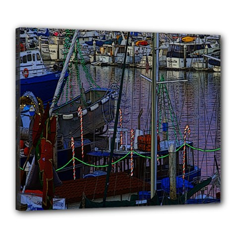 Christmas Boats In Harbor Canvas 24  X 20