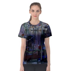 Christmas Boats In Harbor Women s Sport Mesh Tee