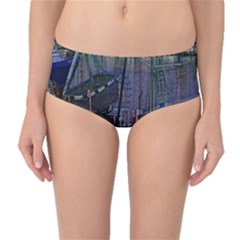 Christmas Boats In Harbor Mid-Waist Bikini Bottoms
