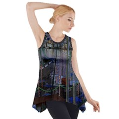 Christmas Boats In Harbor Side Drop Tank Tunic