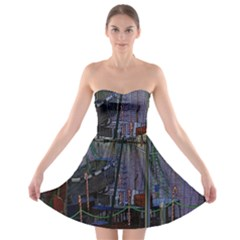 Christmas Boats In Harbor Strapless Bra Top Dress