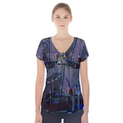 Christmas Boats In Harbor Short Sleeve Front Detail Top