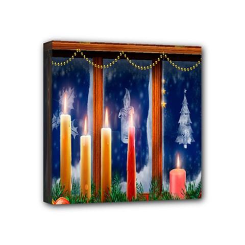 Christmas Lighting Candles Mini Canvas 4  x 4
