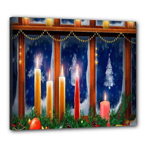 Christmas Lighting Candles Canvas 24  X 20