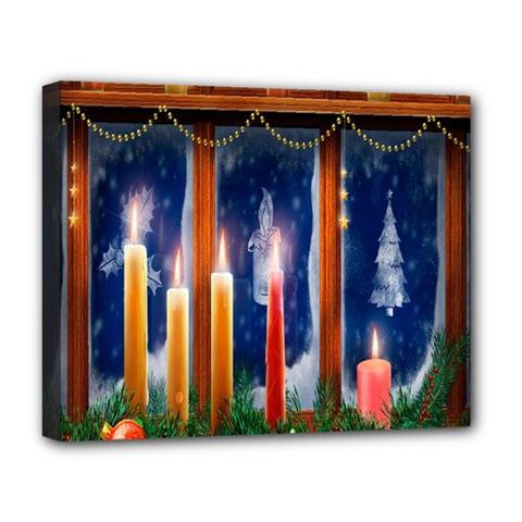 Christmas Lighting Candles Deluxe Canvas 20  X 16