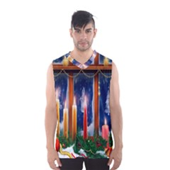 Christmas Lighting Candles Men s Basketball Tank Top