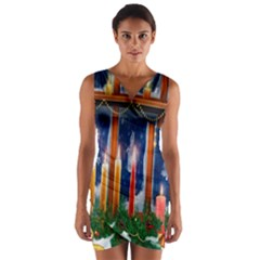Christmas Lighting Candles Wrap Front Bodycon Dress