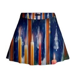 Christmas Lighting Candles Mini Flare Skirt