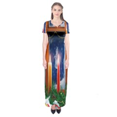Christmas Lighting Candles Short Sleeve Maxi Dress