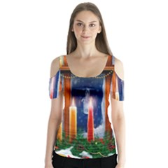 Christmas Lighting Candles Butterfly Sleeve Cutout Tee