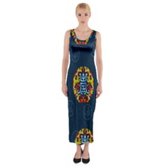China Wind Dragon Fitted Maxi Dress