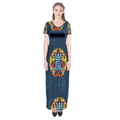 China Wind Dragon Short Sleeve Maxi Dress