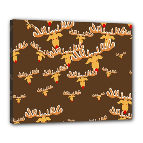 Christmas Reindeer Pattern Canvas 20  X 16