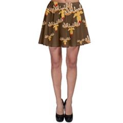 Christmas Reindeer Pattern Skater Skirt