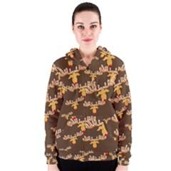 Christmas Reindeer Pattern Women s Zipper Hoodie