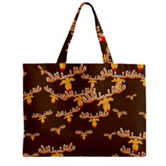 Christmas Reindeer Pattern Zipper Mini Tote Bag
