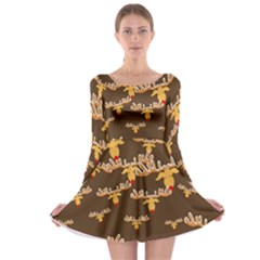 Christmas Reindeer Pattern Long Sleeve Skater Dress