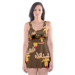 Christmas Reindeer Pattern Skater Dress Swimsuit