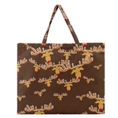 Christmas Reindeer Pattern Zipper Large Tote Bag