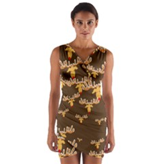 Christmas Reindeer Pattern Wrap Front Bodycon Dress