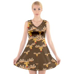 Christmas Reindeer Pattern V Neck Sleeveless Skater Dress