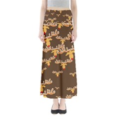 Christmas Reindeer Pattern Maxi Skirts