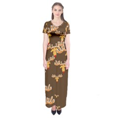 Christmas Reindeer Pattern Short Sleeve Maxi Dress