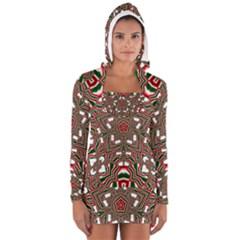 Christmas Kaleidoscope Women s Long Sleeve Hooded T-shirt
