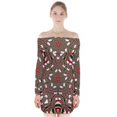 Christmas Kaleidoscope Long Sleeve Off Shoulder Dress