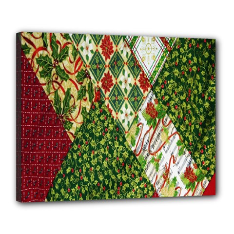Christmas Quilt Background Canvas 20  x 16