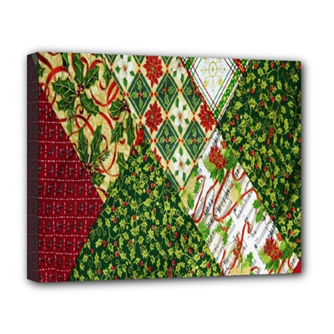 Christmas Quilt Background Deluxe Canvas 20  X 16