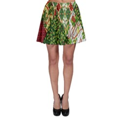 Christmas Quilt Background Skater Skirt
