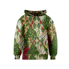 Christmas Quilt Background Kids  Pullover Hoodie