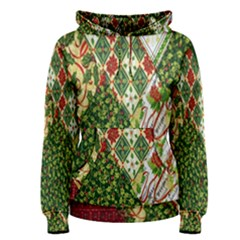 Christmas Quilt Background Women s Pullover Hoodie
