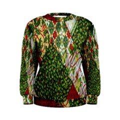 Christmas Quilt Background Women s Sweatshirt