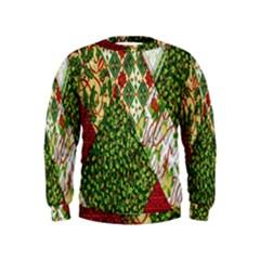 Christmas Quilt Background Kids  Sweatshirt