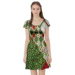 Christmas Quilt Background Short Sleeve Skater Dress