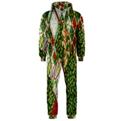 Christmas Quilt Background Hooded Jumpsuit (Men)