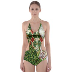 Christmas Quilt Background Cut-Out One Piece Swimsuit