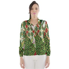 Christmas Quilt Background Wind Breaker (Women)