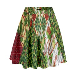 Christmas Quilt Background High Waist Skirt