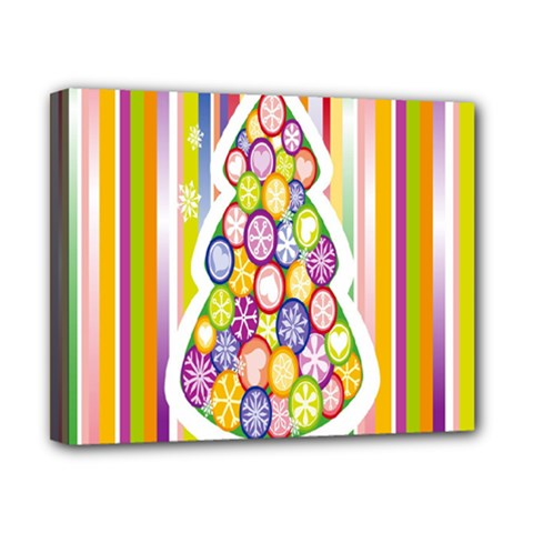 Christmas Tree Colorful Canvas 10  x 8